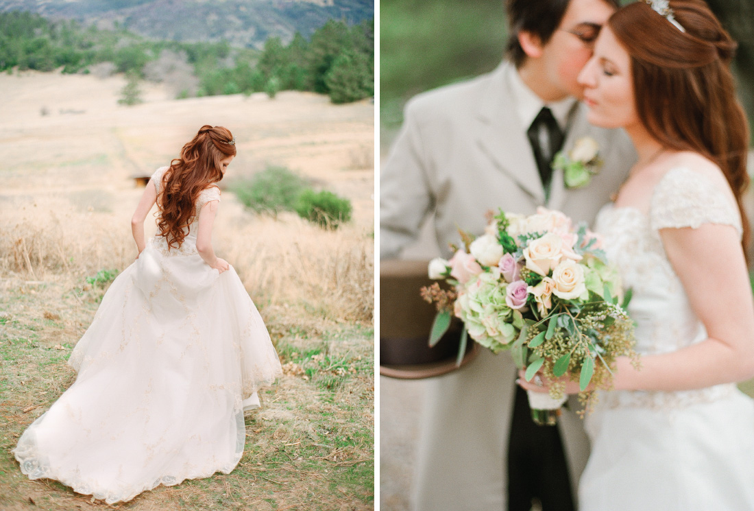 bride walking in meadow, groom kissing bride holding bouquet