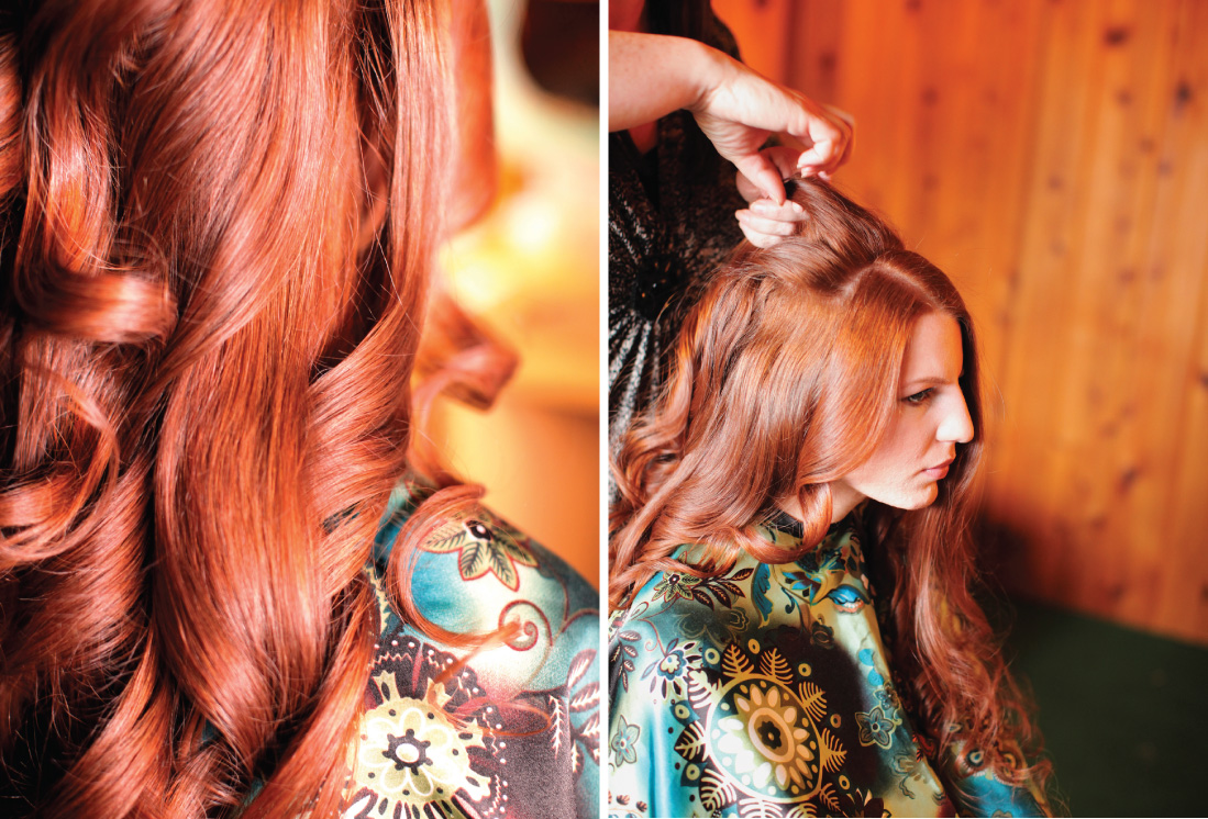 bride getting ready for wedding, curly long luscious red hair