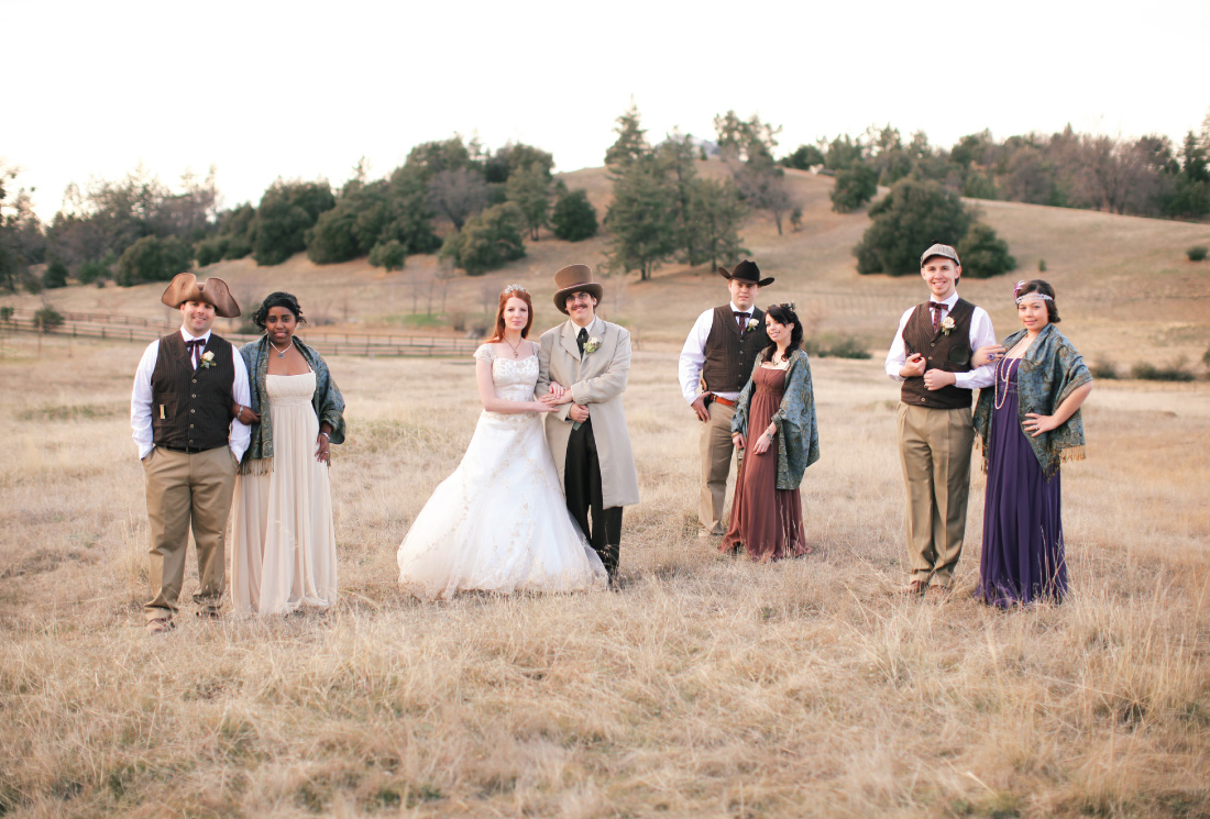 wedding party portrait in a meadow at the Julian Meadow View Inn