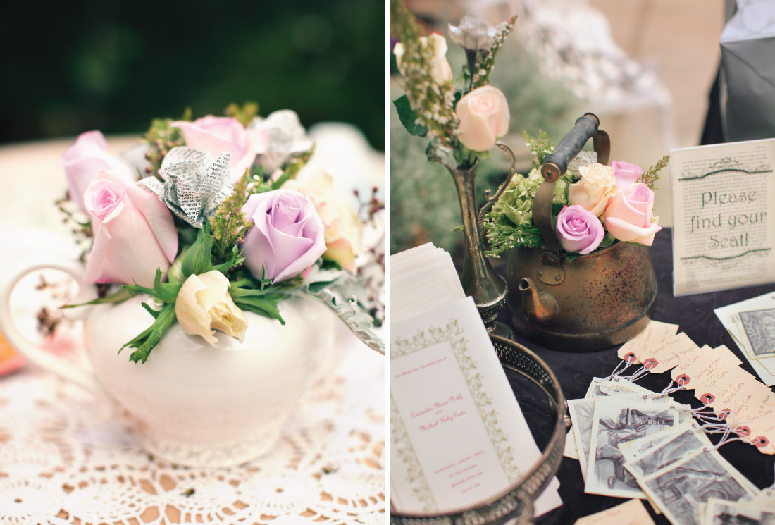 floral decorating using paper flowers in a tea pot, floral in a tin tea pot