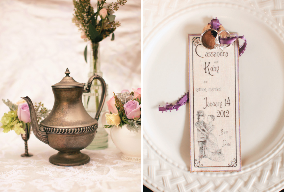 wedding floral decorating using moroccan tea pot, DIY save the date card for Cassandra and Koby