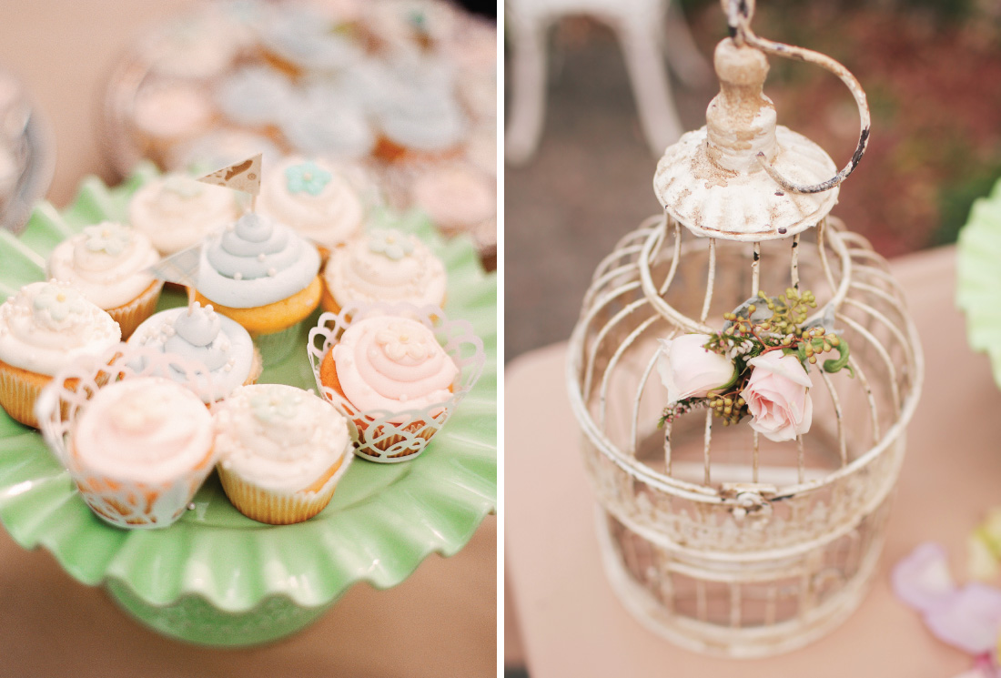 pastel color cupcakes with flags and bird cage