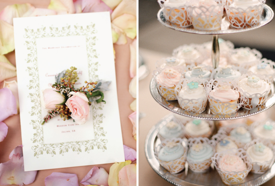 rose boutounniere, pastel color cupcakes on tiers