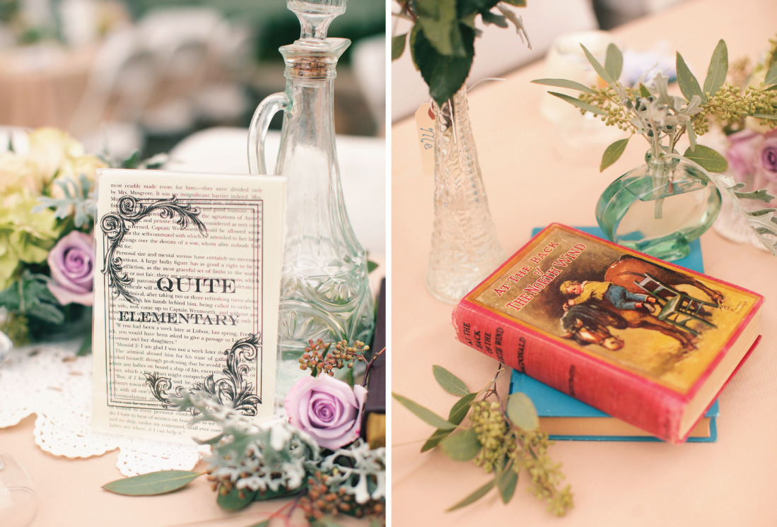 literary theme table cards, DIY table cards using literature