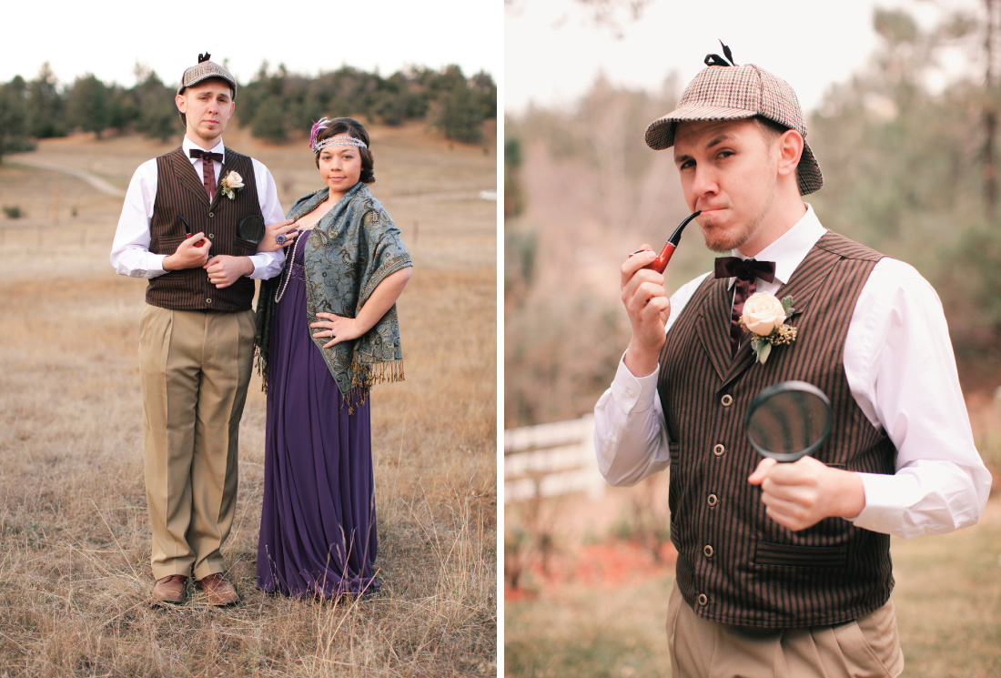 "literary theme inspired wedding party outfits, groomsman wearing outfit from ""Sherlock Holmes"", brides maid wearing outfit from the Great Gasty"