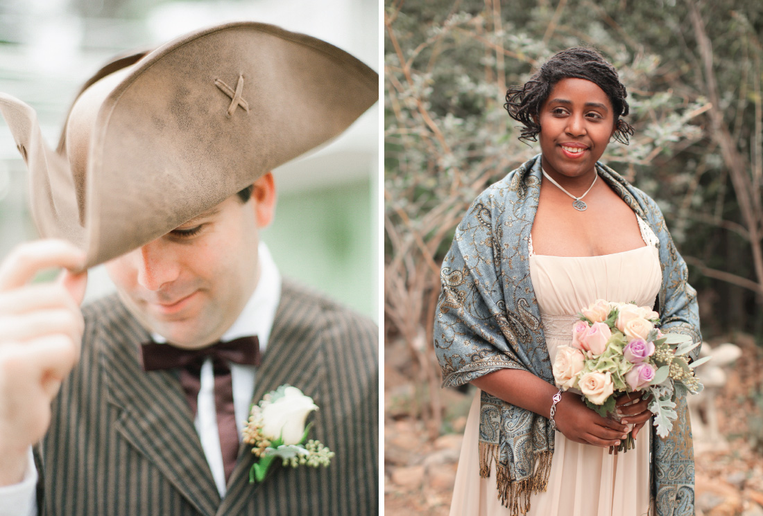 "literary theme inspired wedding party outfits, groomsman wearing hat from the ""treasure island"", brides maid wearing outfit from the King Arthur"