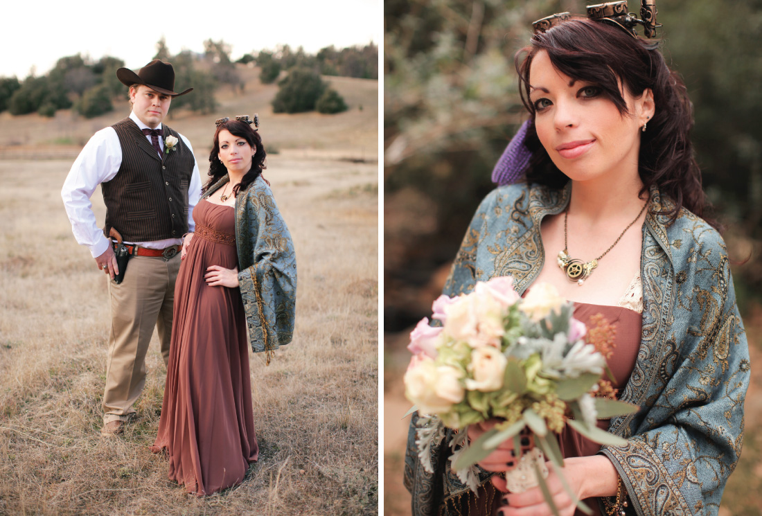 literary theme inspired wedding party outfits, groomsman wearing western cowboy outfit, brides maid wearing outfit from Steampunk