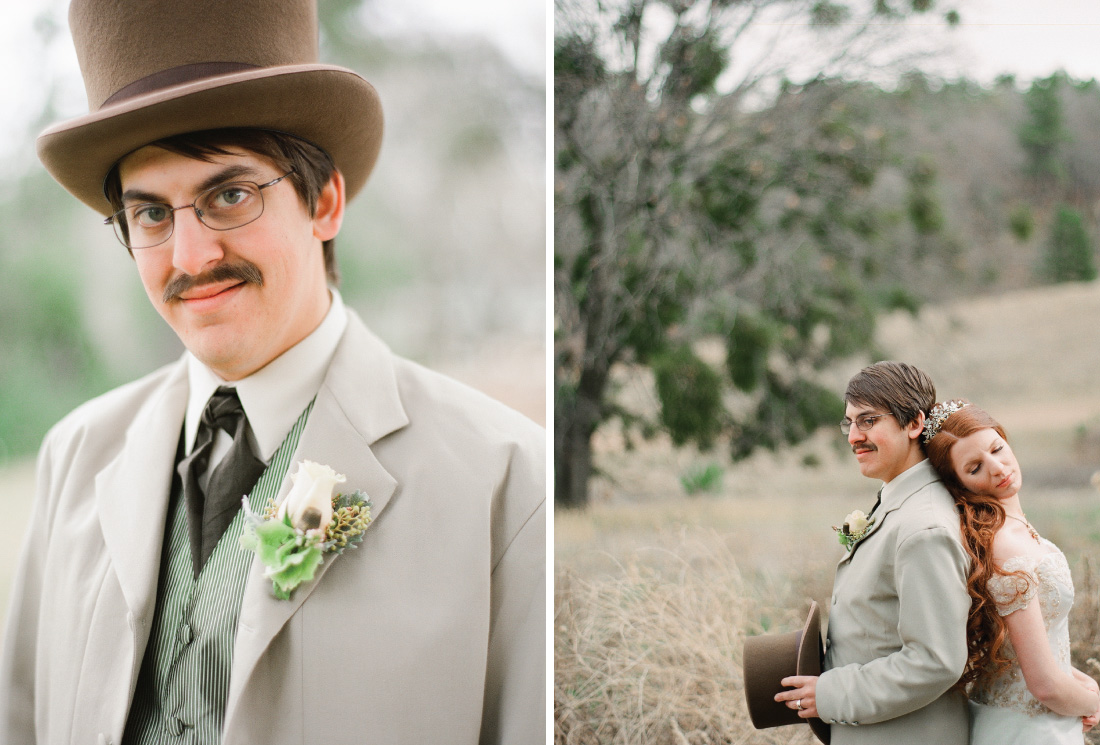 groom portrait, alice in wonderland, mad hatter, bride and groom portrait in an open meadow