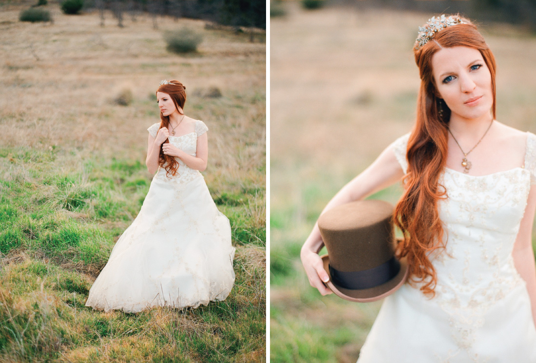 bride portrait in a meadow