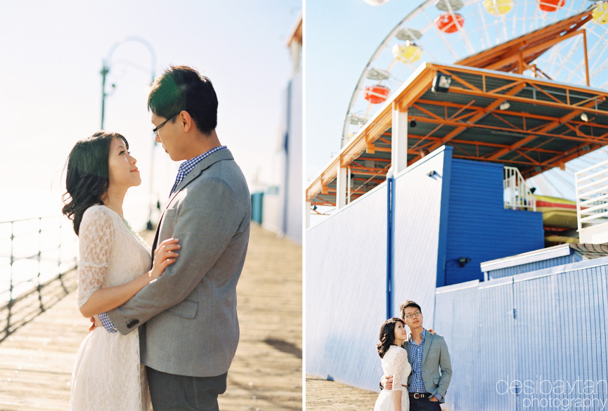 Engagement Session on the Santa Monica Pier with Ferris Wheel in background