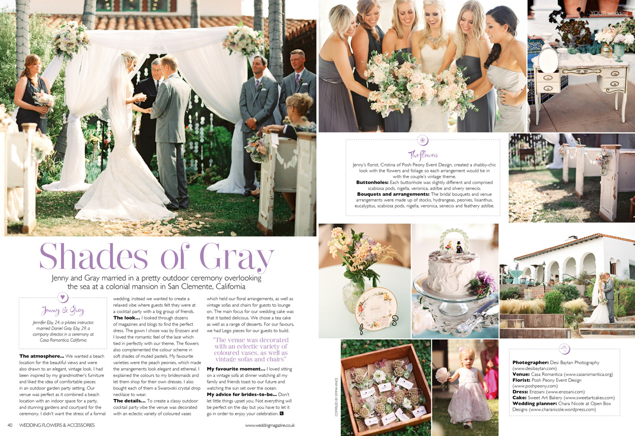 Jenny and Gray wedding featured on Wedding Flowers & Accessories