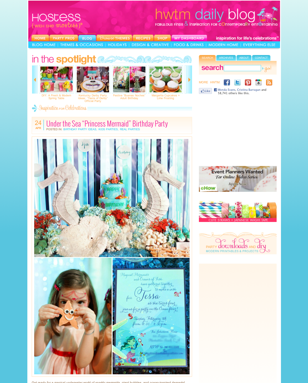 Under the sea birthday party theme, star fish cookies, seahorse birthday cake