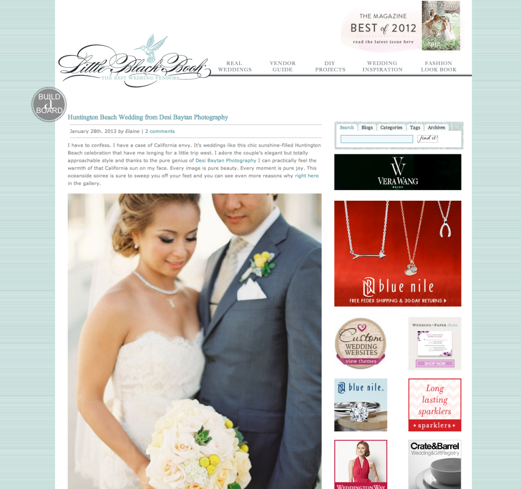 Connie and John's Wedding featured on Style Me Pretty Little Black Book