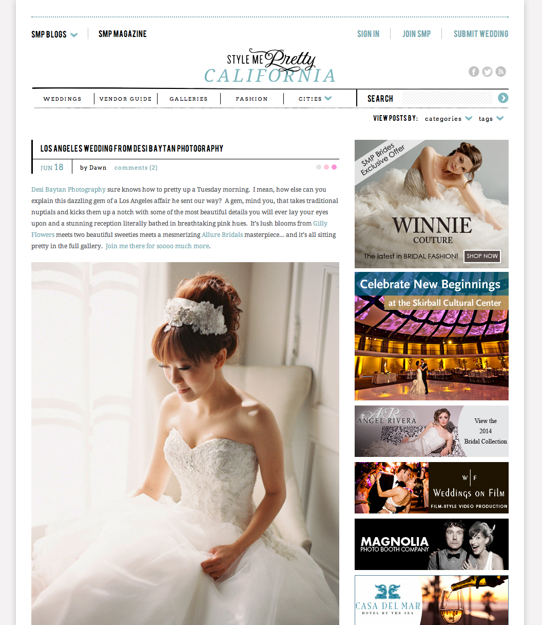 Style Me Pretty Feature of Tram and Aaron's Wedding at the Vibiana